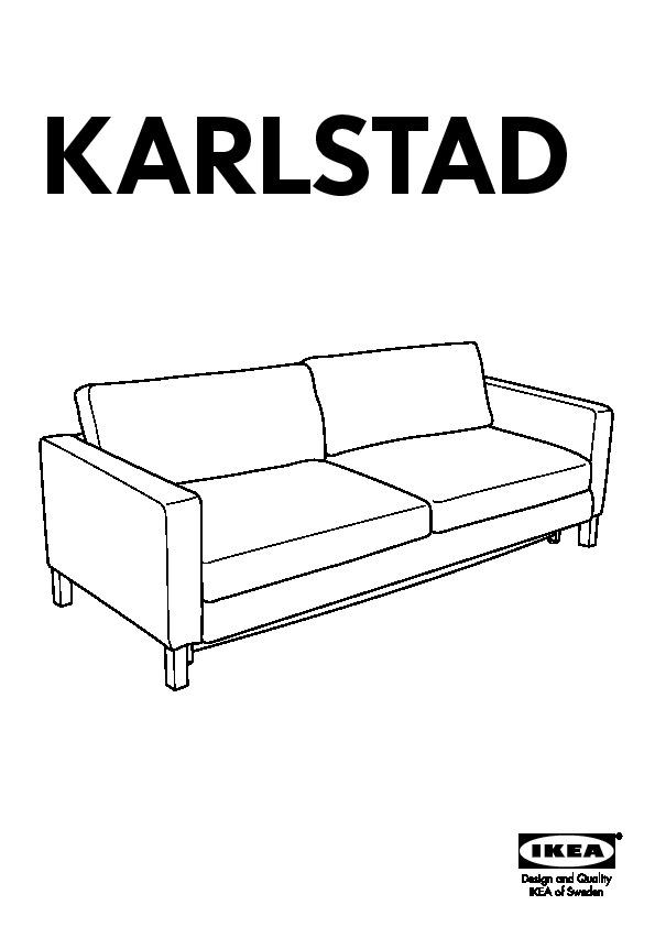 Karlstad housse de convertible 3places blad ker bleu for Housse canape ikea karlstad