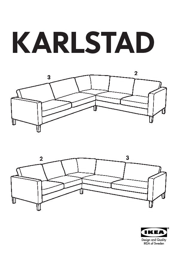 Karlstad housse pr canap d 39 angle 2 3 3 2 lind beige for Housse canape ikea karlstad