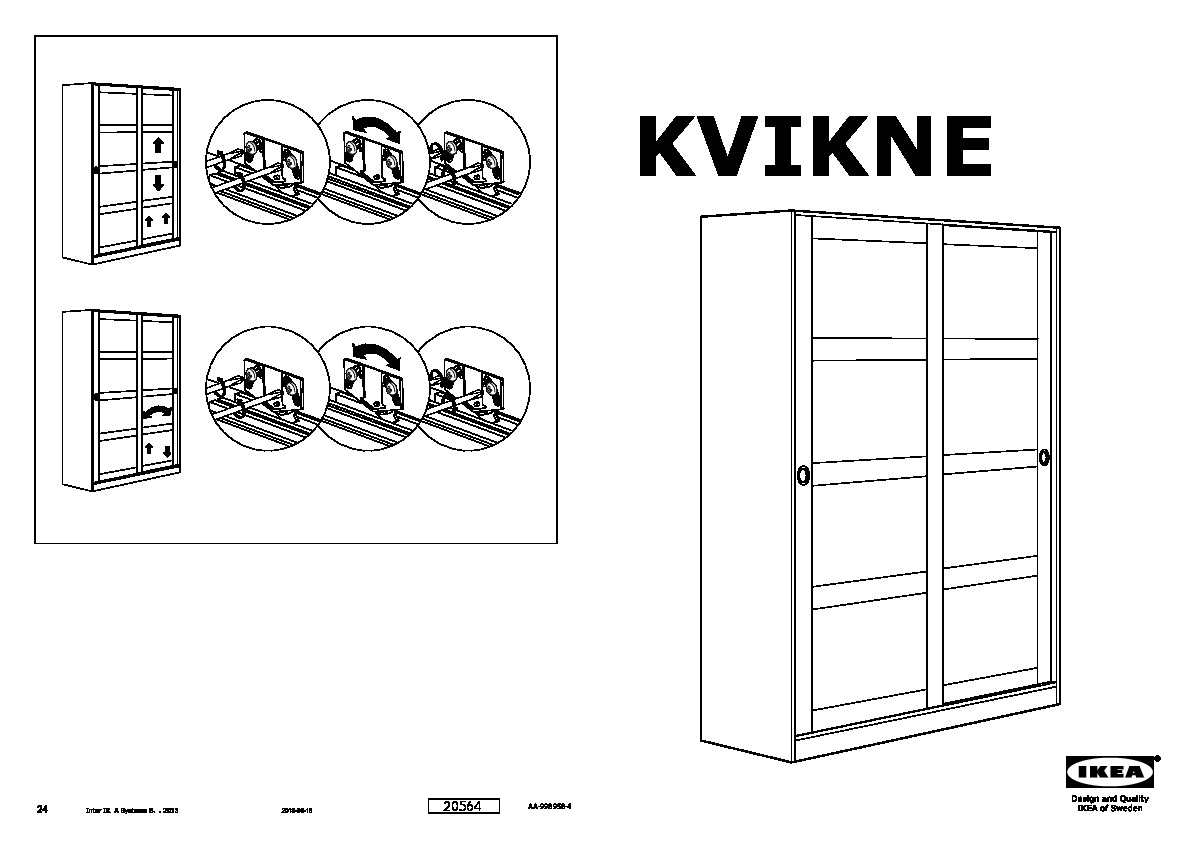 kvikne wardrobe with 2 sliding doors white ikea canada. Black Bedroom Furniture Sets. Home Design Ideas