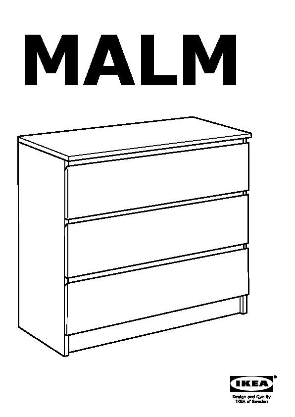 Malm Commode 3 Tiroirs Chene Blanchi Ikea Canada French Ikeapedia