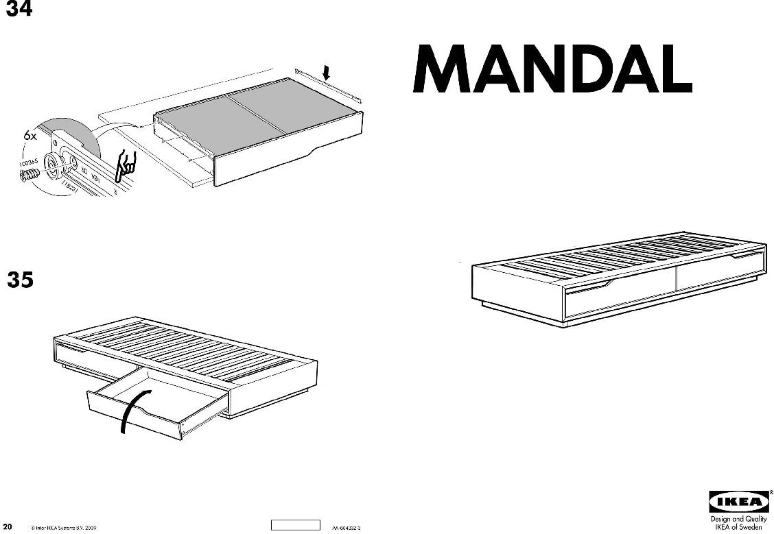 Mandal struttura letto con contenitore betulla bianco for Testiera letto ikea mandal