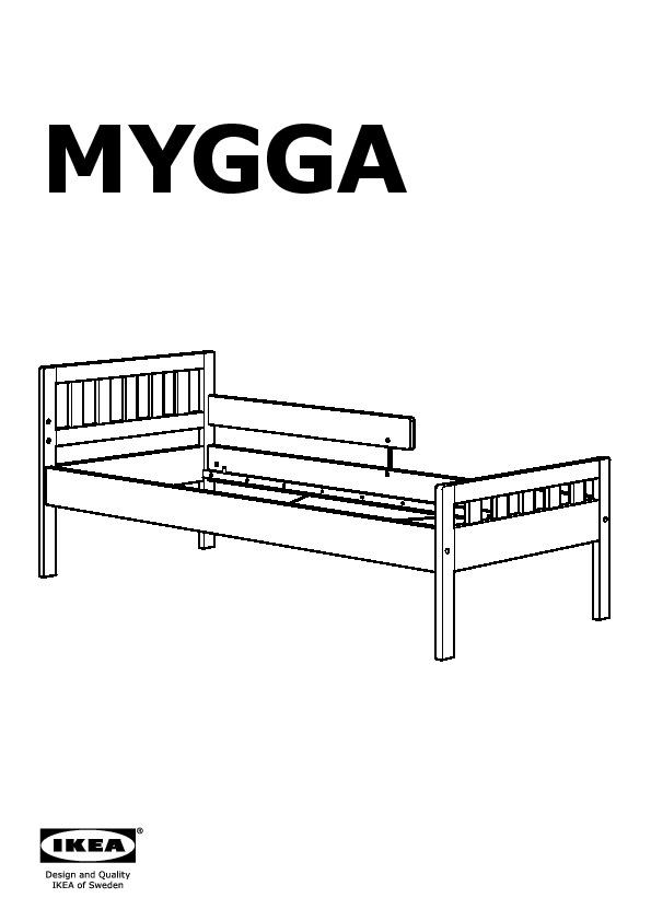 Mygga struttura letto con base a doghe grigio tortora for Sponda letto ikea