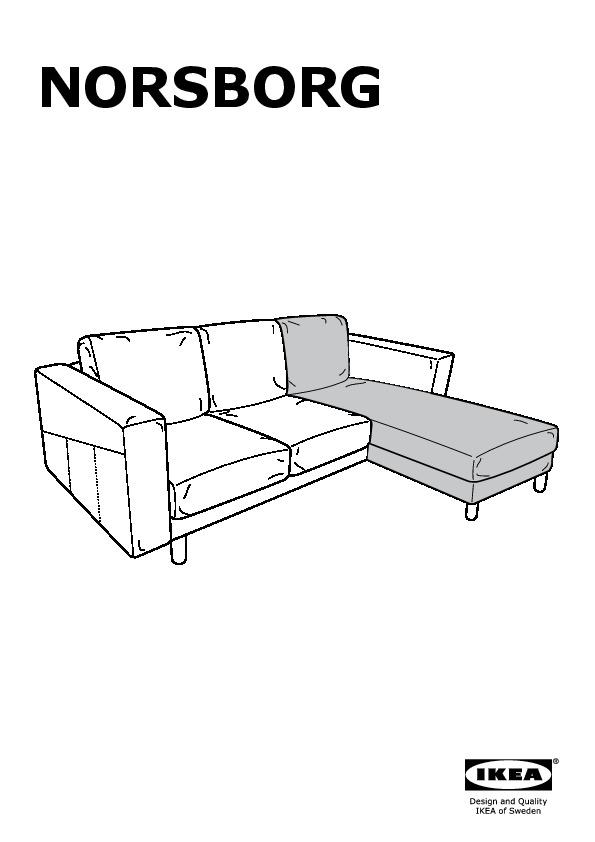 NORSBORG Loveseat with chaise Finnsta white birch IKEA United