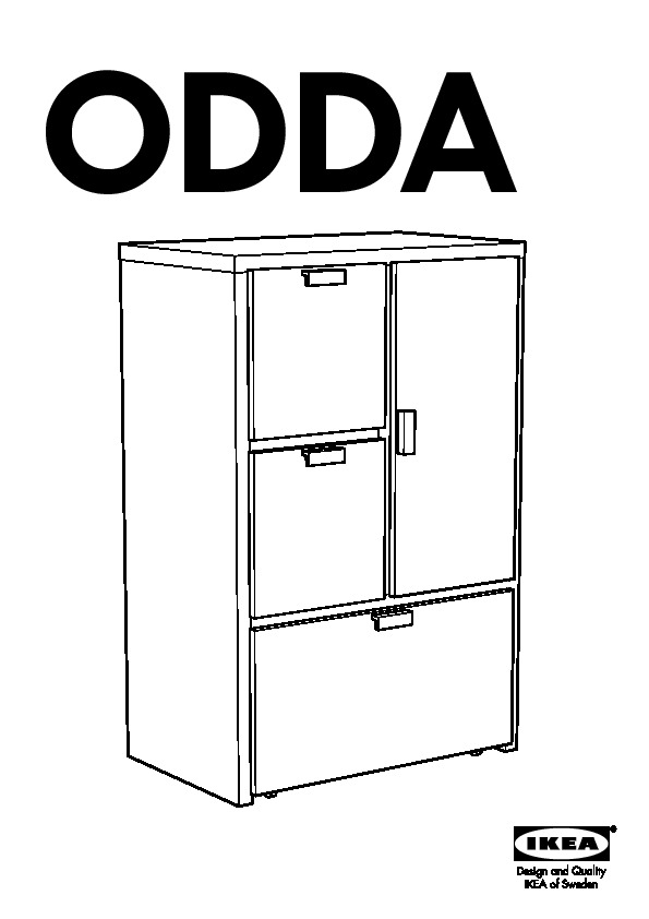 odda commode 3 tiroirs 1 porte blanc noir ikea france ikeapedia. Black Bedroom Furniture Sets. Home Design Ideas