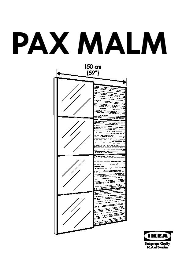 Pax Armoire Portes Coulissantes Blanc Malm Miroir Chêne