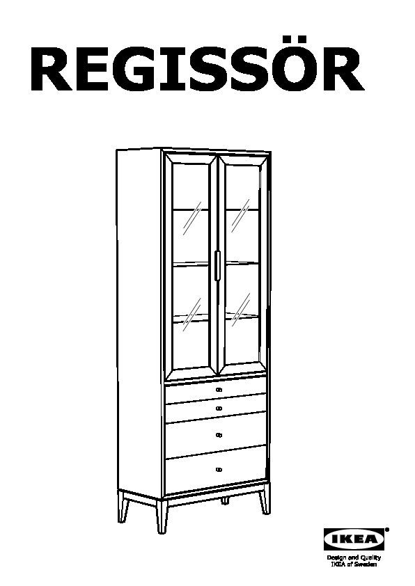 Regissr Glass Door Cabinet With 4 Drawers Brown Ikea Canada
