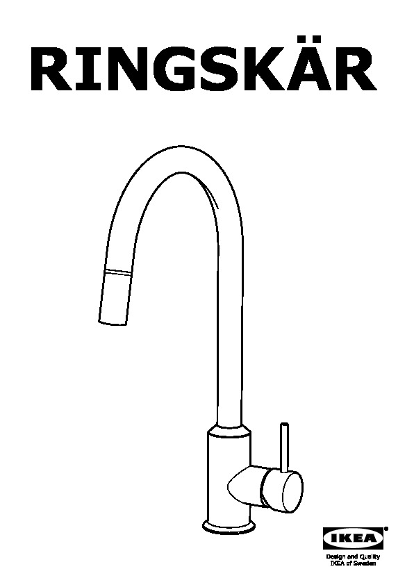 RINGSKÄR Kitchen faucet with pull-out spout pull-out stainless steel ...