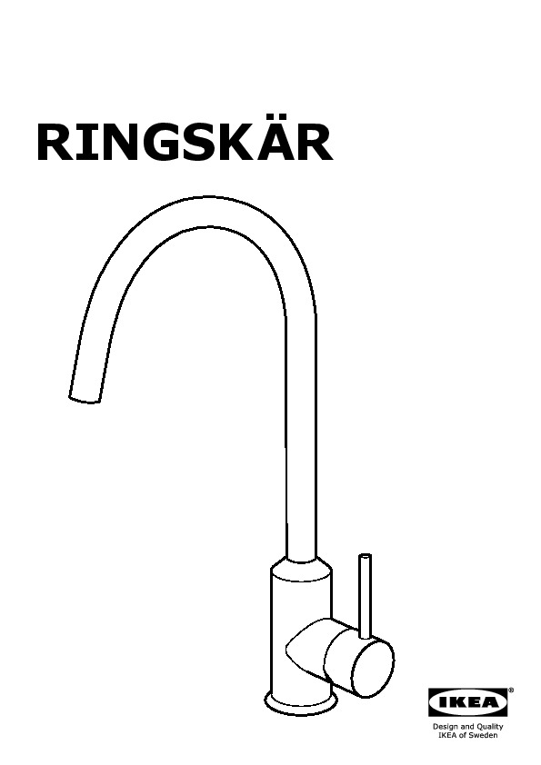 RINGSKÄR Single lever kitchen faucet white (IKEA United States ...