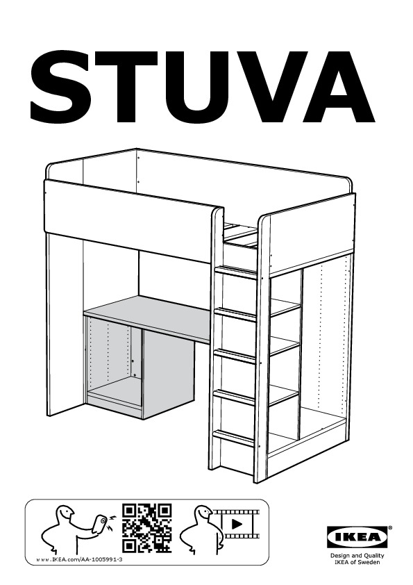 STUVA Loft Bed Frame, Desk And Storage
