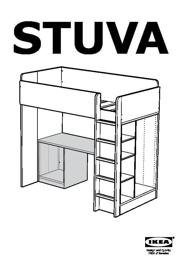 Stuva Loft Bed With 1 Drawer 2 Doors White Black Ikea United