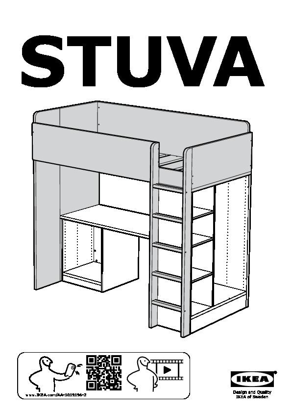 Stuva Loft Bed With 1 Drawer2 Doors White Black Ikea United