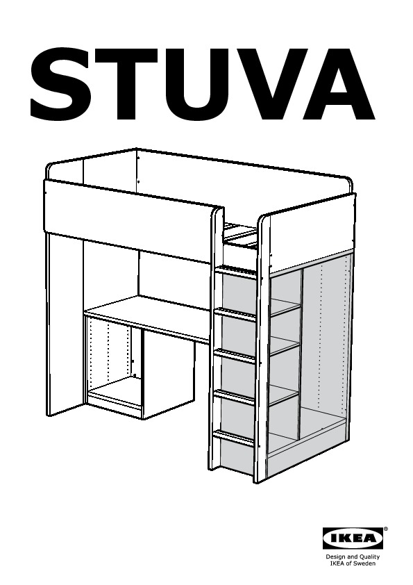 STUVA Loft bed combo w 3 drawers/2 doors white, black (IKEA United