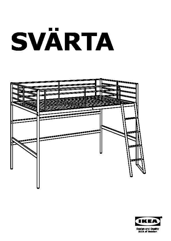 Svarta Loft Bed Frame Silver Color Ikeapedia