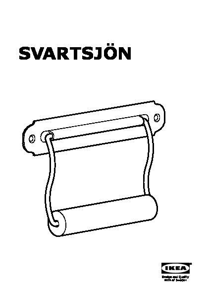 Ikea SVARTSJÖN Toilet Roll Holder Black Steel Solid Pine