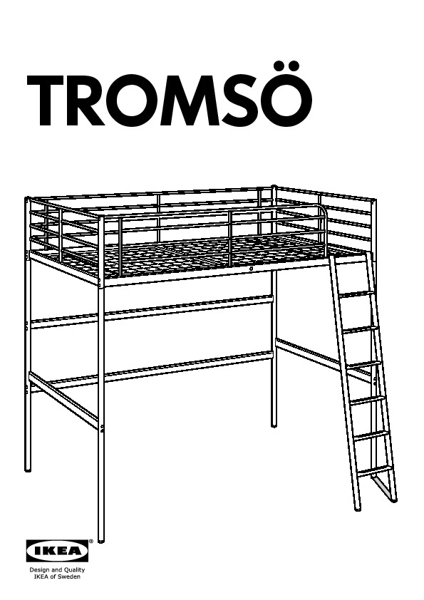 troms loft bed frame white ikea united states ikeapedia. Black Bedroom Furniture Sets. Home Design Ideas