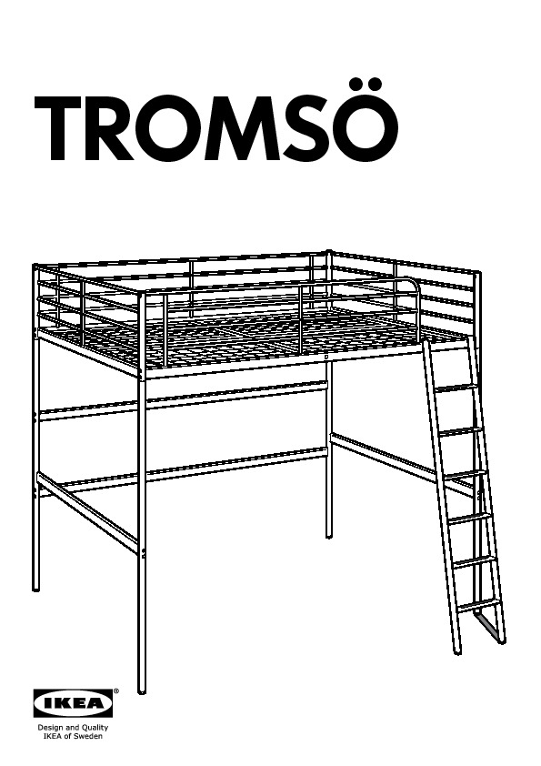 Troms U00d6 Loft Bed Frame White  Ikea United States