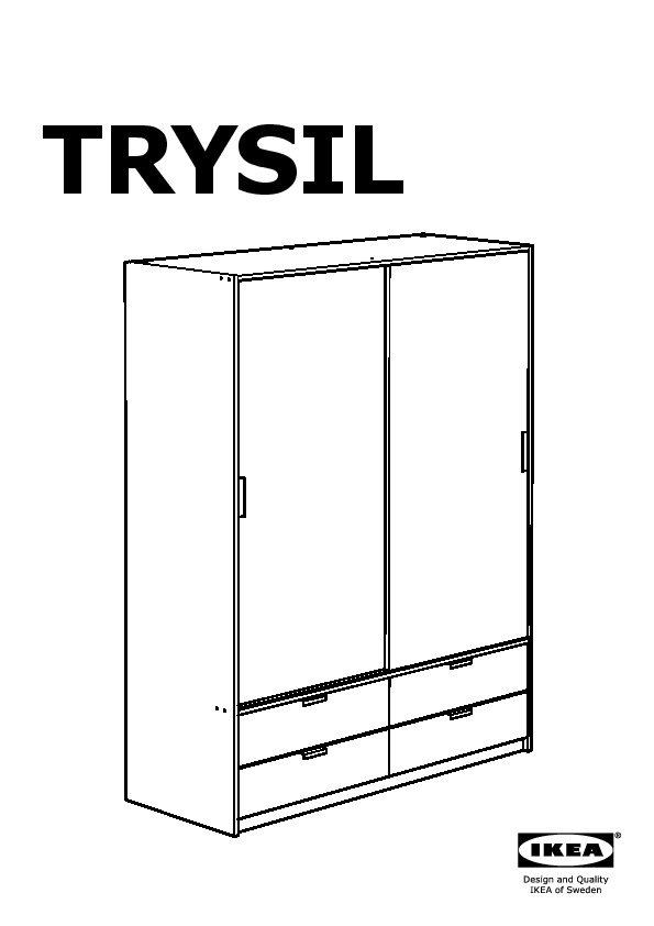 trysil armoire portes couliss 4tiroirs ikea france ikeapedia. Black Bedroom Furniture Sets. Home Design Ideas