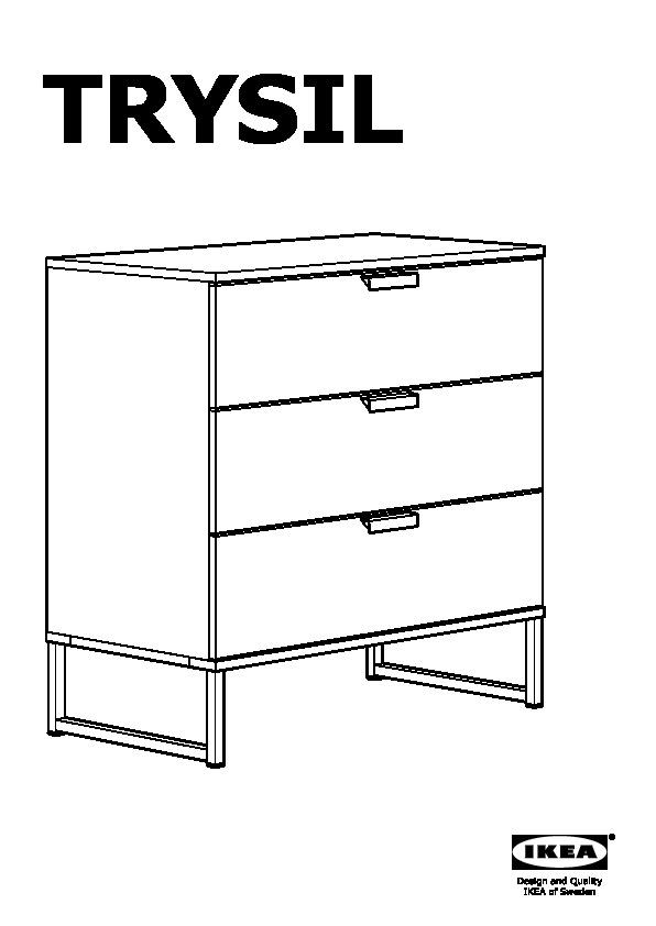 Cassettiera Ikea 3 Cassetti.Trysil Cassettiera Con 3 Cassetti Bianco Grigio Chiaro Ikea