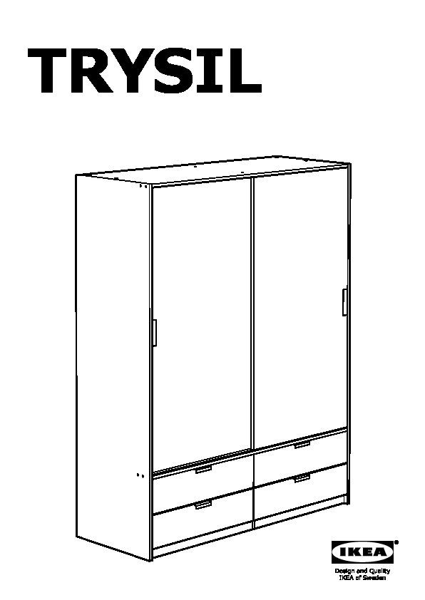 Ikea Armadio 2 Ante 2 Cassetti.Trysil Guardaroba Ante Scorrev 4 Cassetti Bianco Ikea Italy