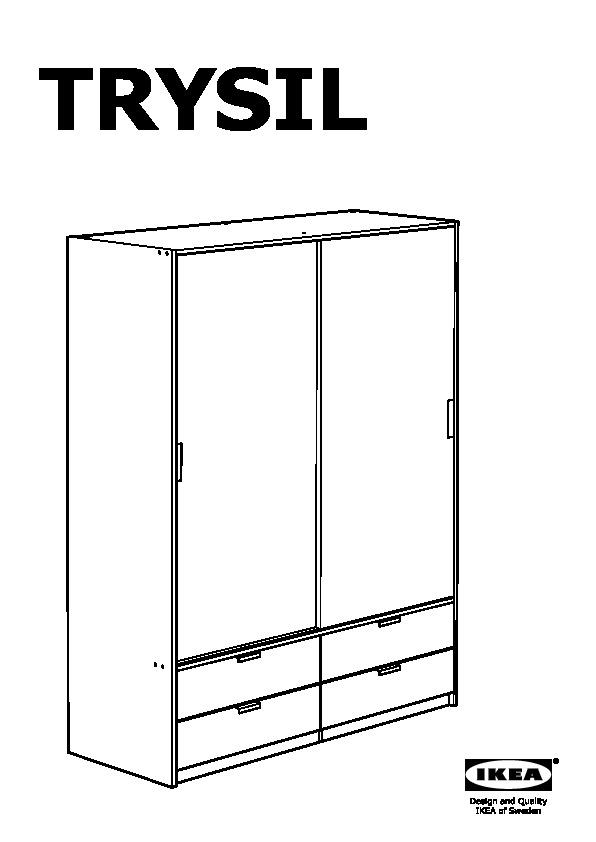 TRYSIL Wardrobe w sliding doors/4 drawers dark brown, black (IKEA