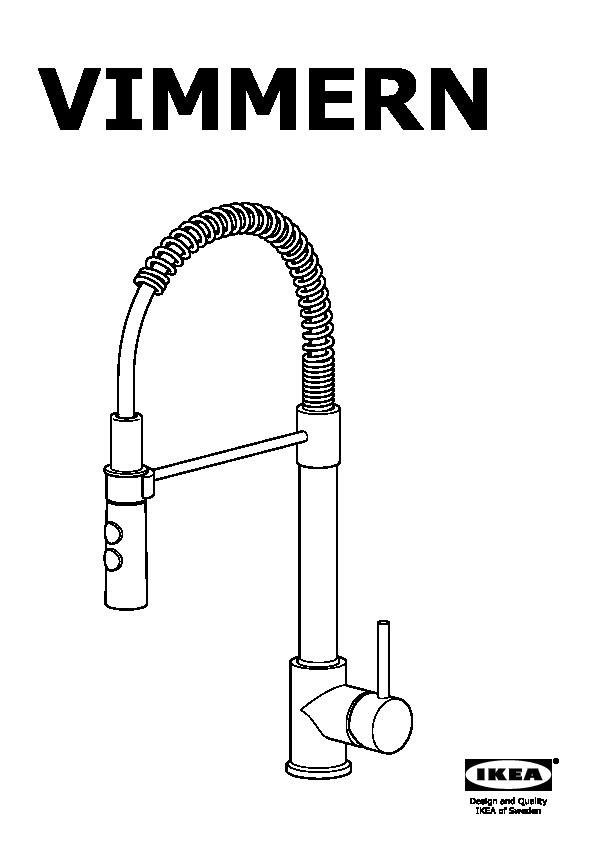 VIMMERN Kitchen faucet with handspray stainless steel color (IKEA ...